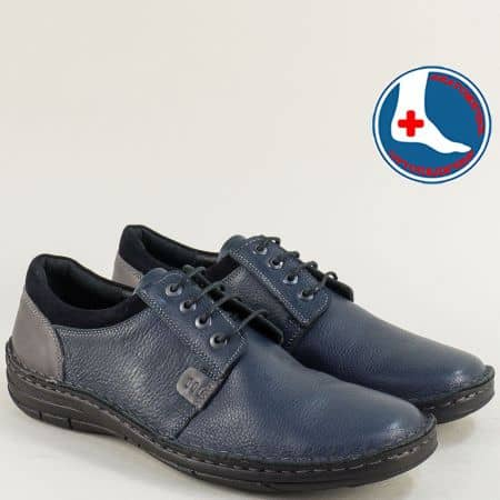 Сини мъжки обувки от естествена кожа на шито ходило l1992s