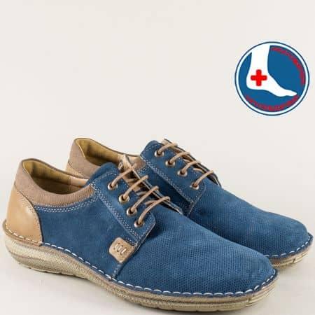 Ортопедични мъжки обувки с връзки в синьо и бежво  l1993ns