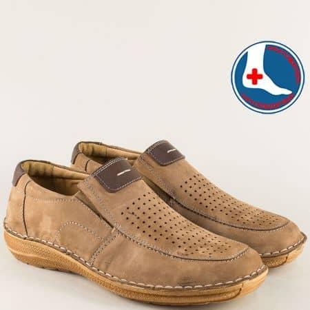 Анатомични мъжки обувки в бежов цвят на шито ходило l1994nk
