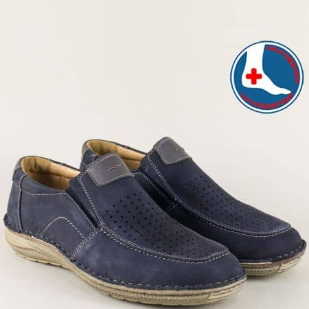 Ортопедични мъжки обувки от син естествена набук l1994ns