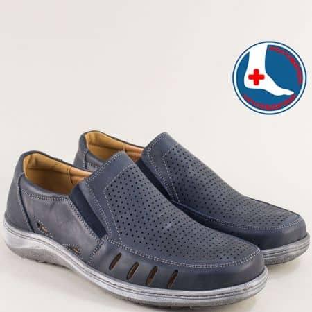 Кожени мъжки обувки с перфорация в синьо- ARBITRO l2029s