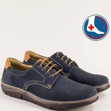 Сини мъжки обувки от естествен набук с перфорация l2030ns