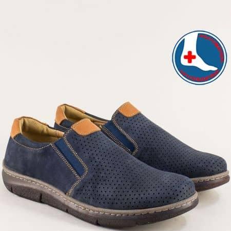 Сини мъжки обувки с перфорация и два ластика- ARBITRO l2031ns