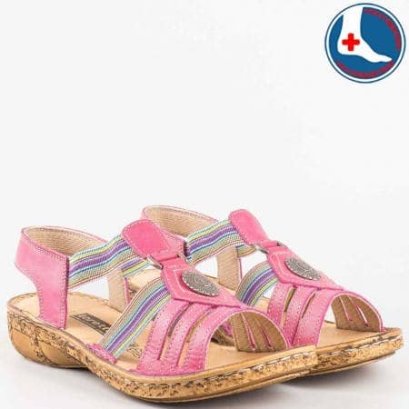 Розови анатомични сандали с пъстри ластици- loretta от естествена кожа изцяло l5046rz