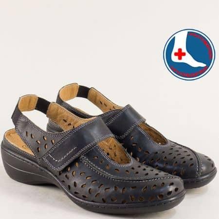 Черни дамски сандали Loretta от естествена кожа с анатомична стелка l5139ch