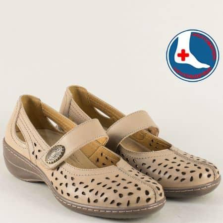 Кафяви дамски обувки с кожена ортопедична стелка l5175k