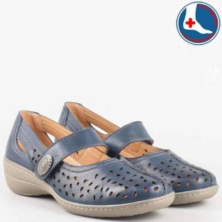 Анатомични дамски обувки Loretta на среден ток с лепка от перфорирана естествена кожа в син цвят l5175s