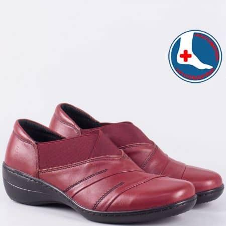 Дамски обувки от естествена кожа в цвят бордо l5220bd