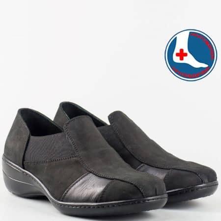 Черни дамски обувки от естествен набук и кожа- Loretta l5286nch
