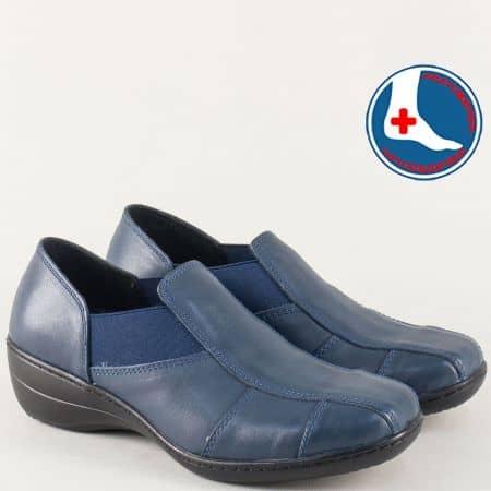 Ортопедични дамски обувки от синя естествена кожа l5286s