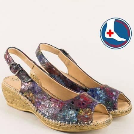 Пъстри дамски сандали от естествена кожа- Loretta l531718chps