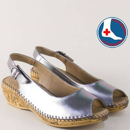Дамски сандали от естествена кожа в бронзов цвят на клин ходило l5317brz
