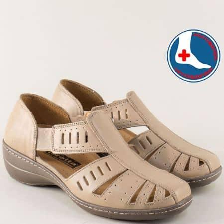 Шити дамски обувки с прорези от бежова естествена кожа l5325bj