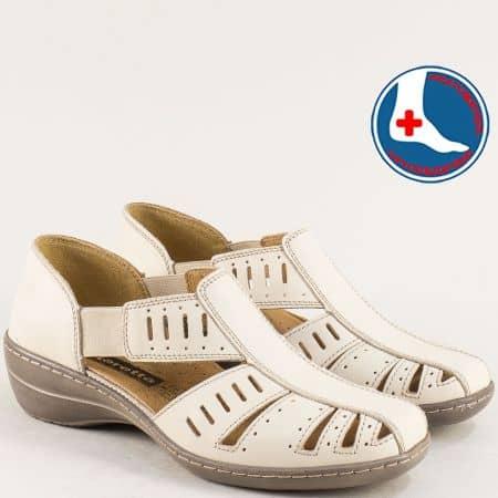 Ортопедични затворени дамски сандали от естествена кожа в бежов цвят l5325bj1