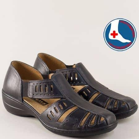 Шити дамски сандали в черно от естествена кожа с анатомична стелка l5325ch