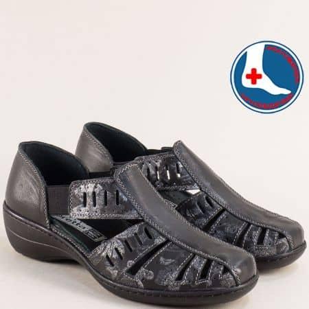 Дамски затворени сандали на ортопедично ходило от кожа на марка Loretta l5325chps