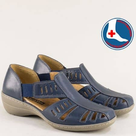 Затворени дамски сандали от кожа на ортопедично ходило в син цвят l5325s