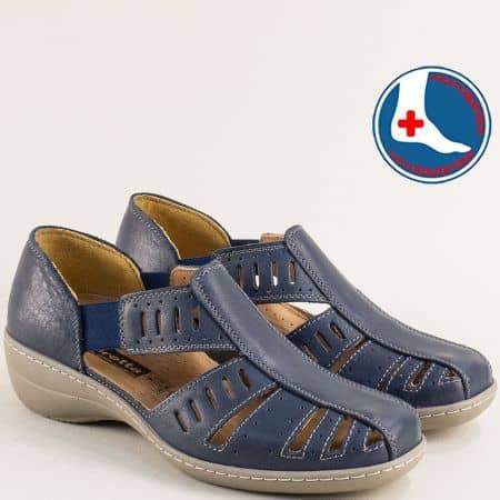 Кожени дамски сандали в син цвят с кожена стелка l5325ss