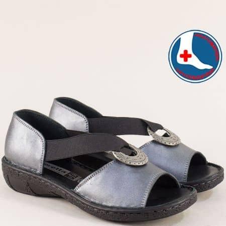 Дамски сандали със затворена пета от естествена кожа l5341bz
