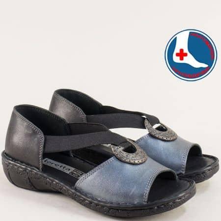 Ортопедични дамски сандали в сребро и черно- Loretta l5341chsr