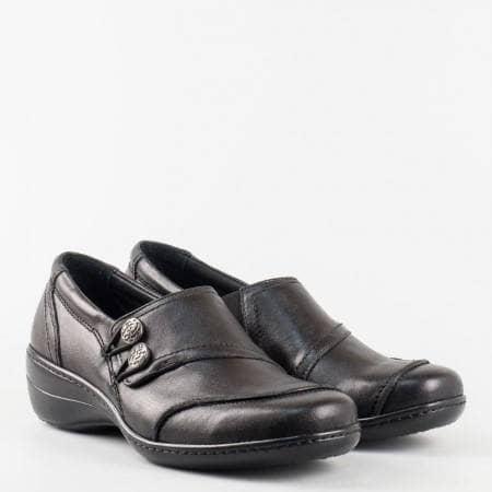 Ежедневна дамска обувка от естествена кожа с копчета в черен цвят  l5388ch