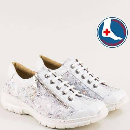 Бели дамски маратонки от естествена кожа- LORETTA l6432bps