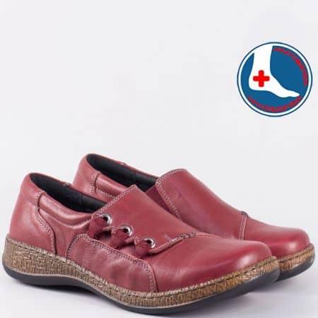Ежедневни дамски обувки в цвят бордо с анатомична стелка l5440bd
