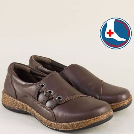 Тъмно кафяви дамски обувки с ортопедична стелка l5482k