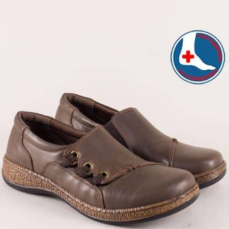 Дамски обувки Loretta на анатомично ходило в тъмно кафяв цвят l5482k1