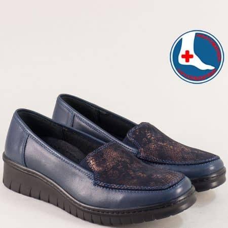 Кожени дамски обувки, тип мокасина в син цвят- LORETTA l5487s
