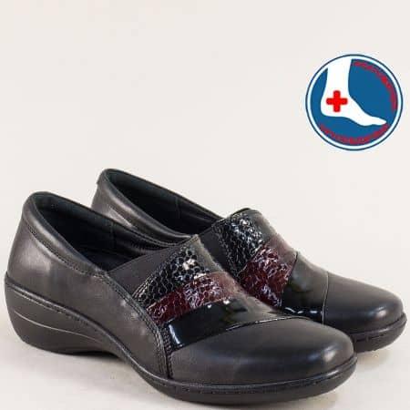 Ортопедични дамски обувки с ластик в черен цвят- LORETTA l549721ch