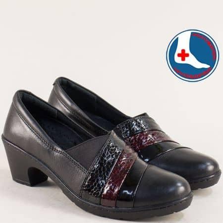 Анатомични дамски обувки на среден ток в черен цвят l5497ch