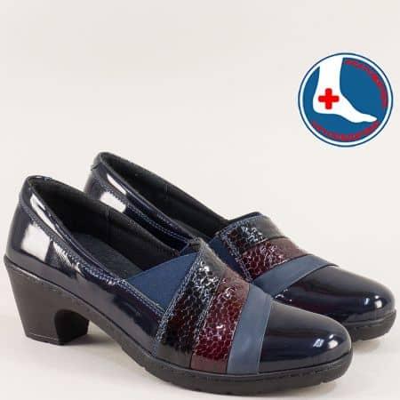 Сини дамски обувки от естествен лак и кожа на среден ток l5497ls