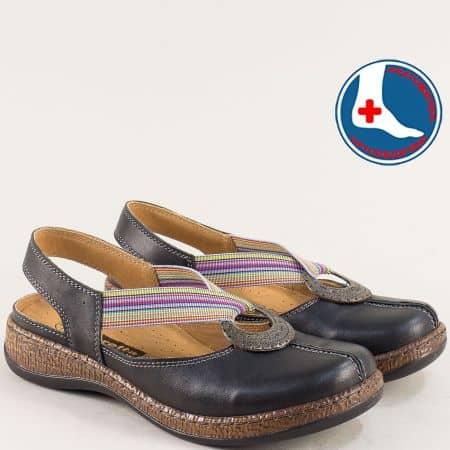 Черни дамски сандали със затворени пръсти- Loretta l5530ch