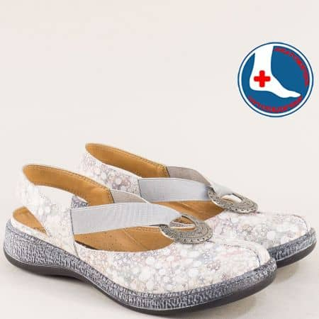 Дамски обувки с отворена пета от естествена кожа Loretta l5530ps