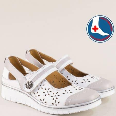 Перфорирани дамски обувки в сиво и бяло- Loretta l5535222bsv