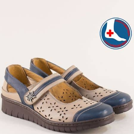 Ортопедични дамски обувки от естествена кожа в бежово и синьо l5535222bjs