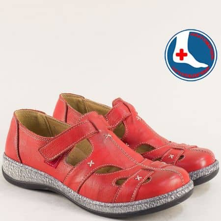Анатомични дамски обувки от естествена кожа в червен цвят на марка Loretta l5537chv