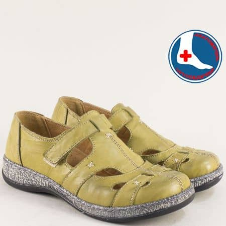 Зелени дамски обувки от естествена кожа с прорези l5537z