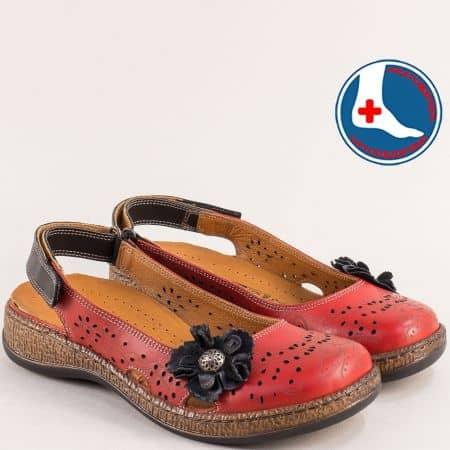 Перфорирани дамски обувки от червена естествена кожа l5555chv
