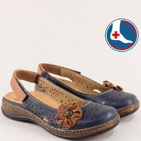Дамски обувки с отворена пета в синьо и кафяво- LORETTA l5555s