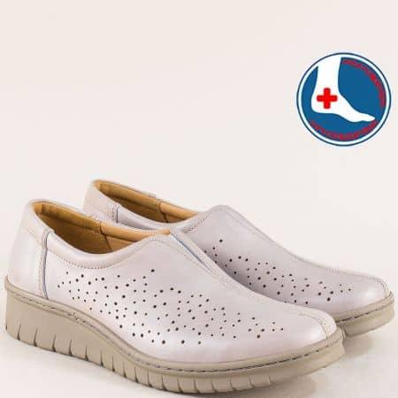 Сиви дамски обувки кожена ортопедична стелка l5564bj