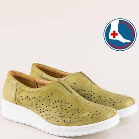 Ортопедични зелени дамски обувки от естествена кожа l5564z