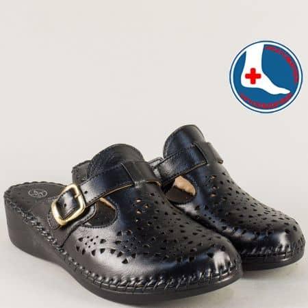 Анатомични дамски чехли с перфорация в черен цвят l5575dch