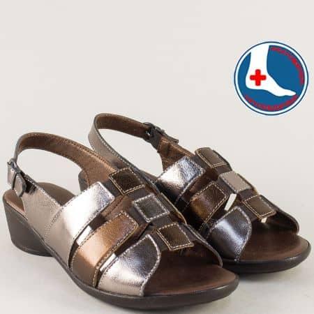 Ортопедични дамски сандали от кожа в сребрист и бронзов цвят l5586srbrz