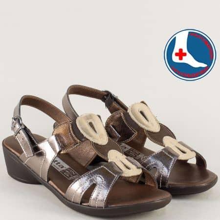 Ортопедични дамски сандали в сребро, злато и бронз l5590srbrz