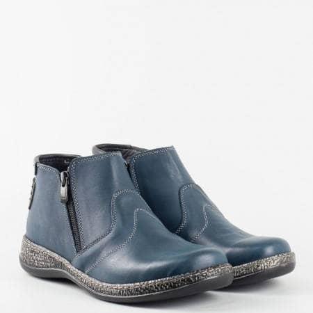Дамски боти от естествена кожа на известната фирма Loretta с цип в син цвят  l5633s