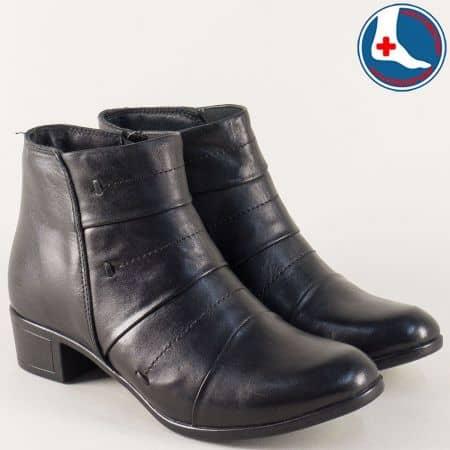 Черни дамски боти на нисък ток от естествена кожа l563ch