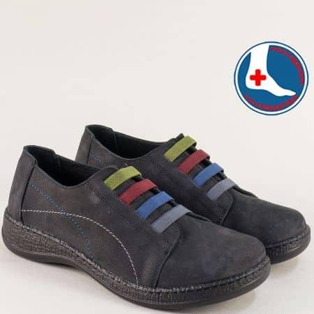 Дамски обувки от естествен набук в черен цвят- LORETTA l5670nch