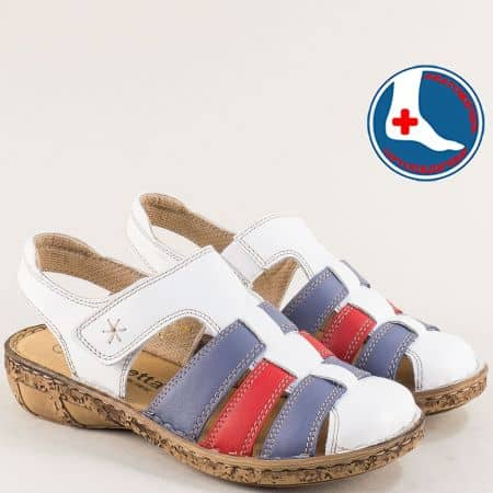Кожени дамски сандали в червено, синьо и бяло- LORETTA l5763bps